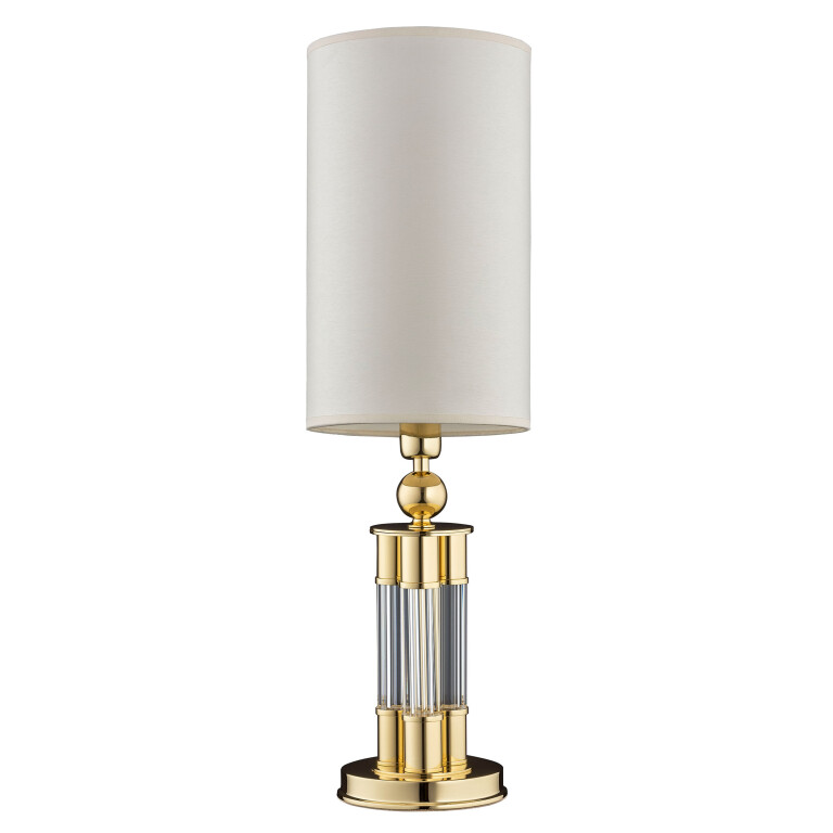 Gold table lamp LEA brass with glass base and silk white lamp shade