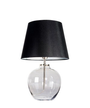 Hand blown grey glass end table lamp LUISE with black silver shade