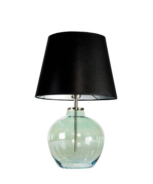 Hand blown end table glass lamp LUISE with black shade