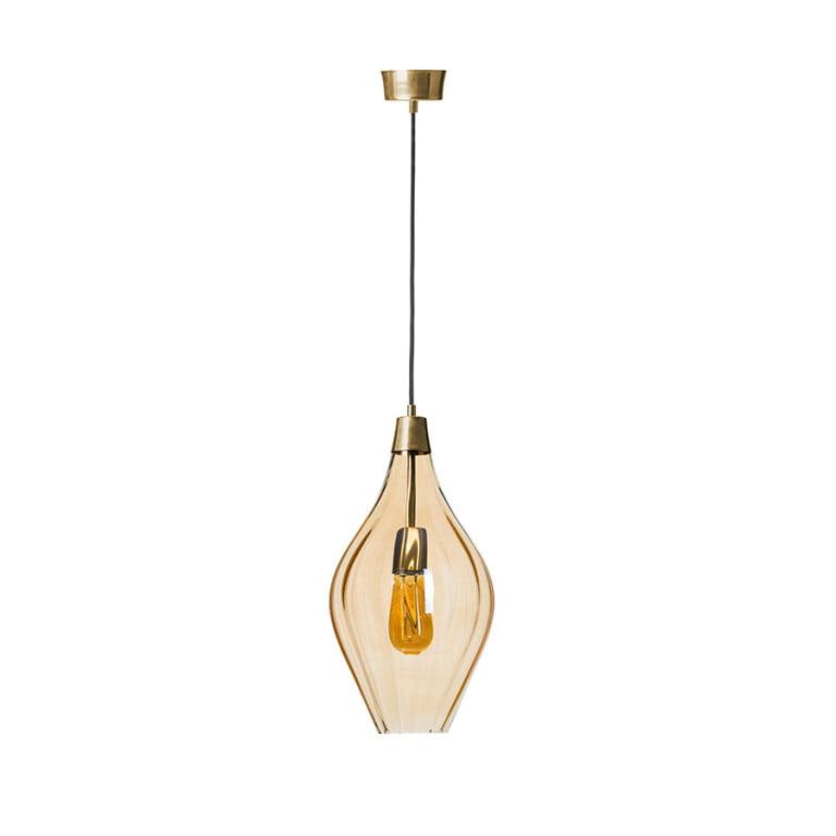 Single glass pendant light APIA in amber