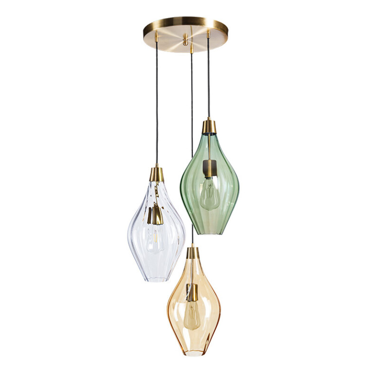 Cluster ceiling pendant lights APIA with glass shades