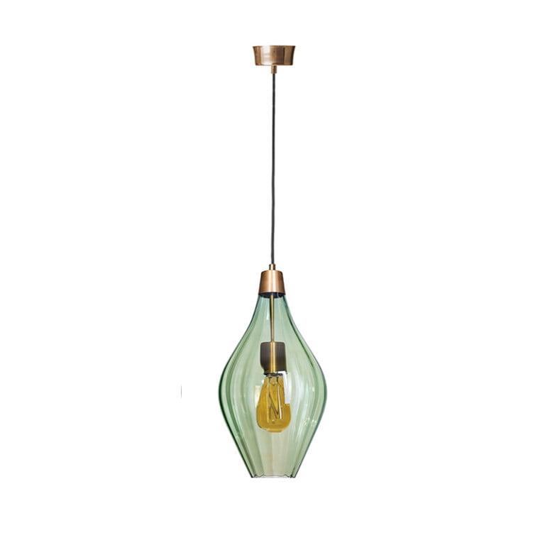 Modern Single glass pendant light APIA in olive Handmade