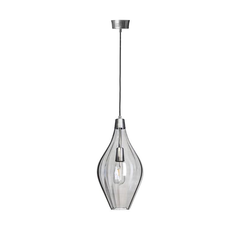 Handmade single pendant light APIA with grey glass shade