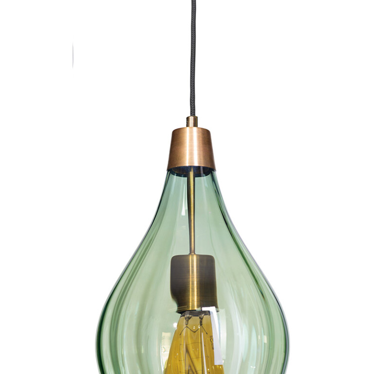 brass single pendant light APIA with olive glass shade