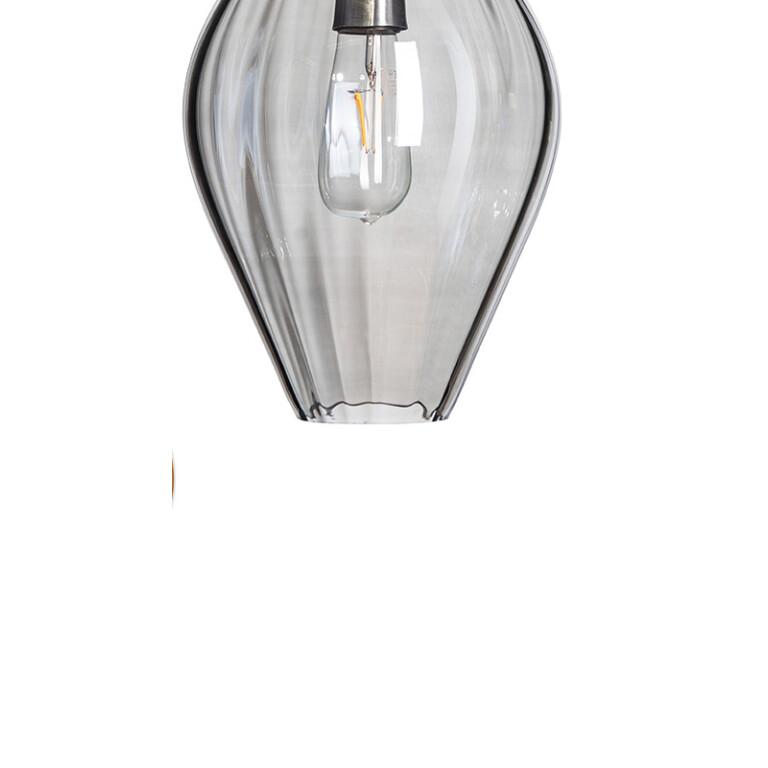 hand painted single glass pendant light APIA in grey