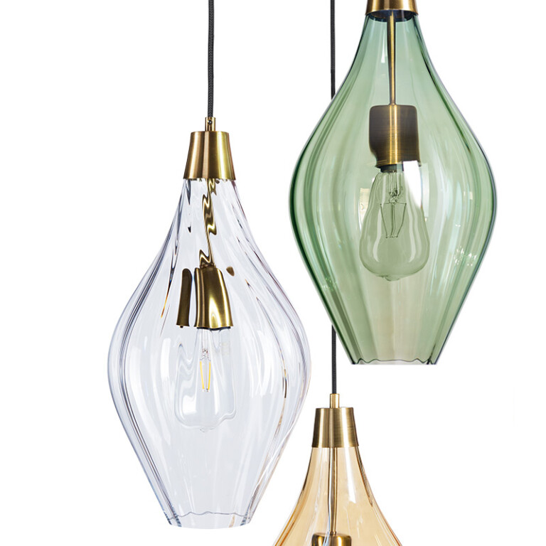 hand pained cluster pendant 3 lights APIA colourfully shades