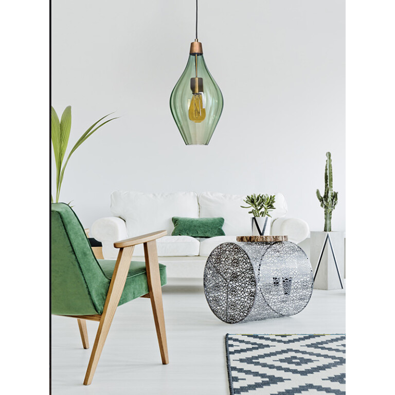 living room inspiration with single pendant light APIA in olive