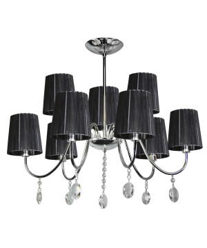 Classic chandelier SORRENTO 9 light in chrome with black shades