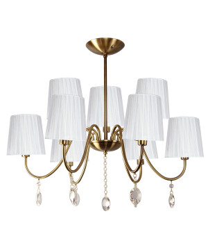 Classic chandelier 9 arms SORRENTO with crystals & white shades