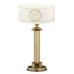 table lamp DECOR in brushed brass with white lamp shade