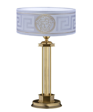 luxury bedside table lamps DECOR in brushed brass with Versace silver shade