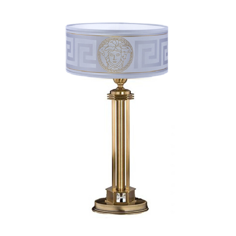 luxury silver table lamps DECOR in brushed brass with Versace shade & Swarovski Crystal