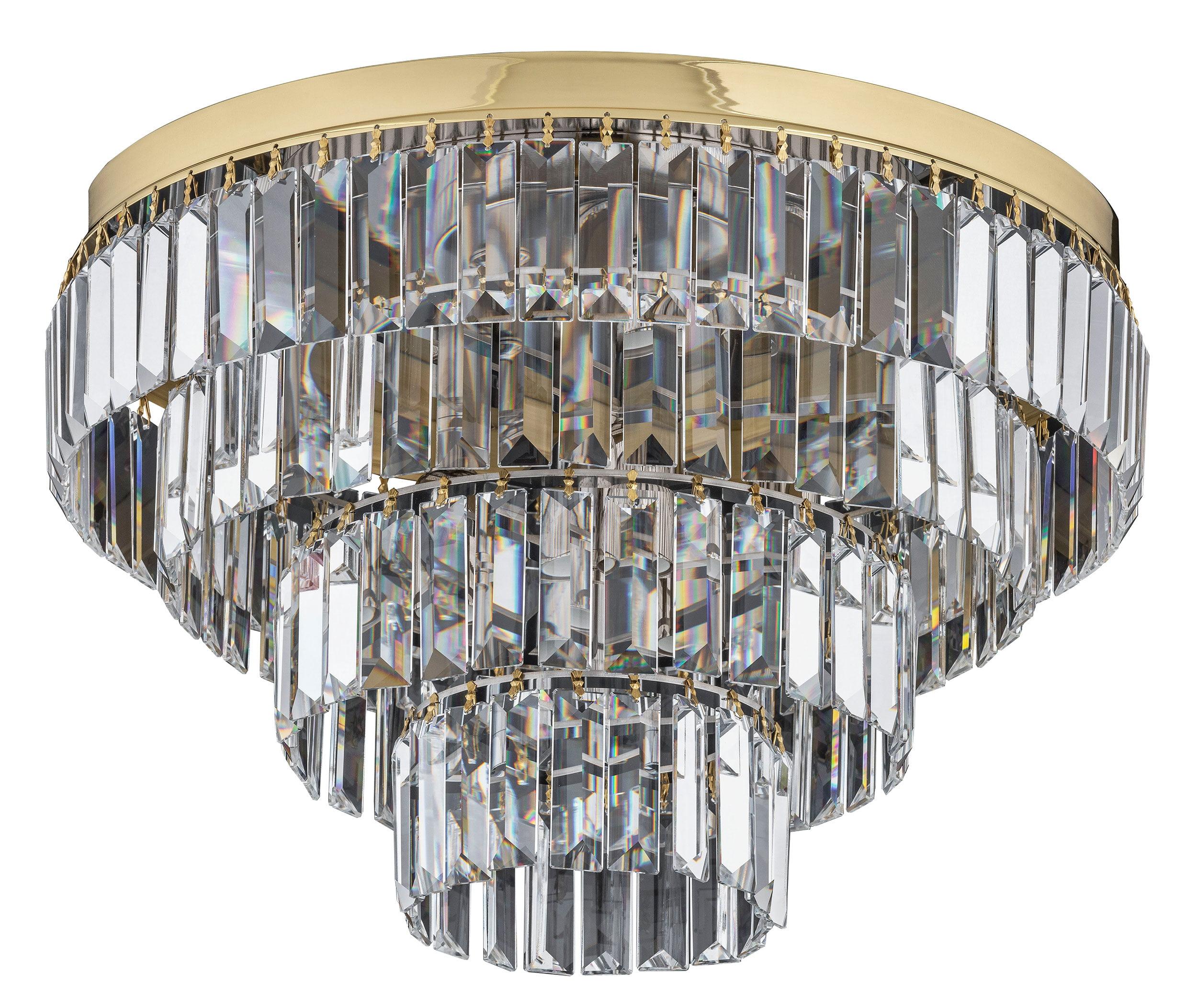 Gold Crystal Flush Ceiling Lights Ellini Gold Swarovski Luxury Chandelier