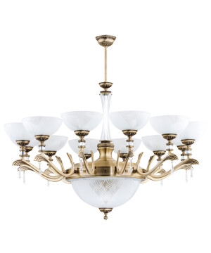 large glass chandelier FARINI 12 lights in brushed brass with Swarovski crystals