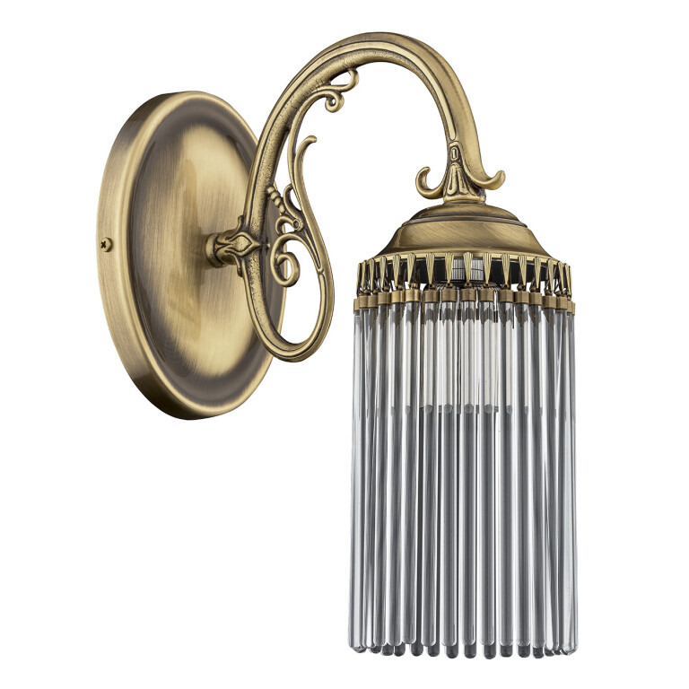 Art decor wall light FIORE in patina with clear glass tubes