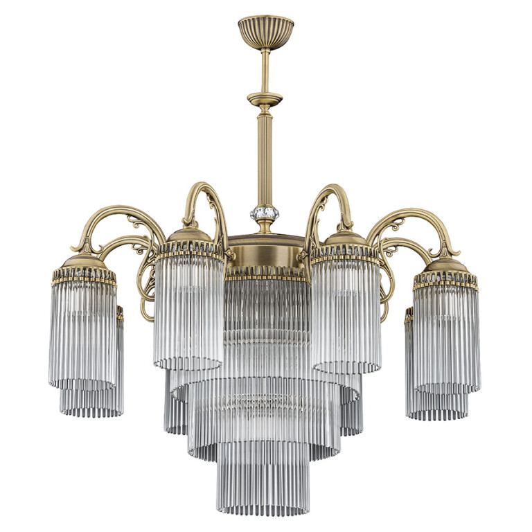 8 light chandelier FIORE brass sculpture in patina with glass shades
