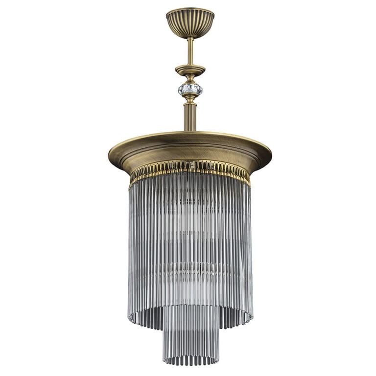 glass ceiling light FIORE brass in patina & Swarovski crystal