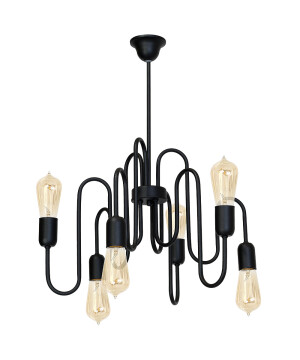 pendant 6 lights modern PUZO in black