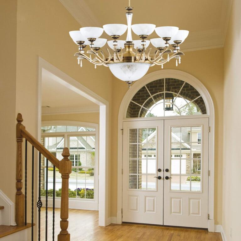 hallway chandelier FARINI 12 light in brushed brass