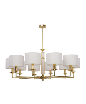 gold bedroom chandelier ARTU 10 lights with white lamp shades
