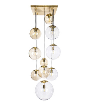 10 light cluster MUNA with hand-blown glass shades