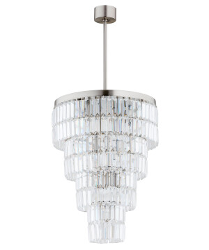 long pendant lights ELLINI in brushed nickel with crystals