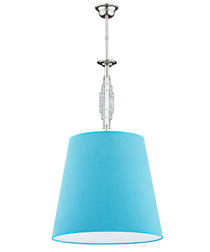 single chandelier light FELLINO in nickel with Swarovski Crystals & blue shade