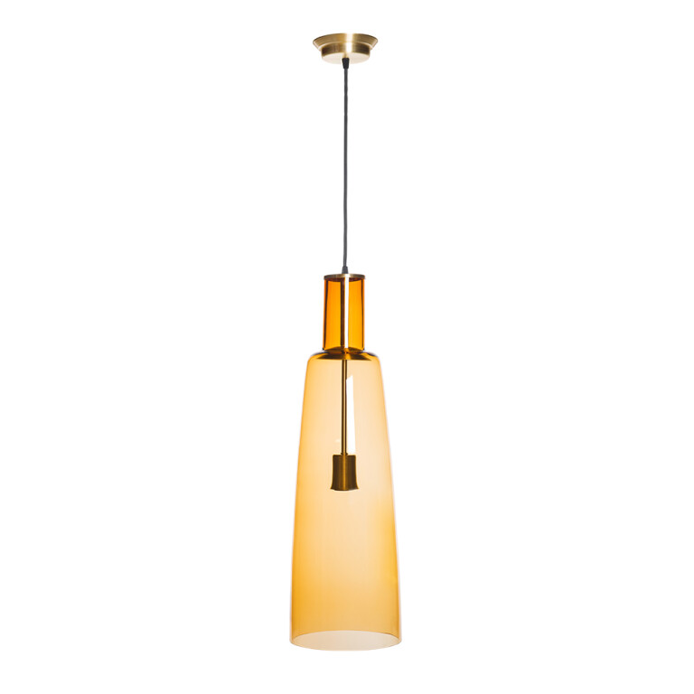 single pendant light fitting KING brass with amber glass shade