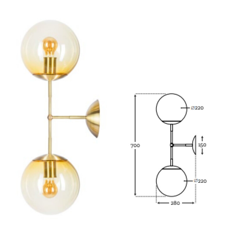 glass wall light shades BACAR in gold