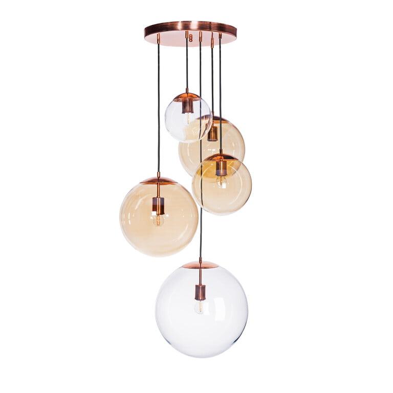 cluster pendant ceiling light MUNA copper dining room 5 lights