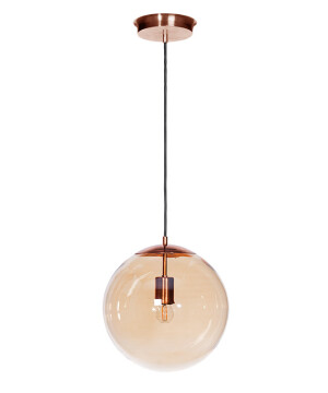 modern single light pendants MUNA in copper with amber glass shades
