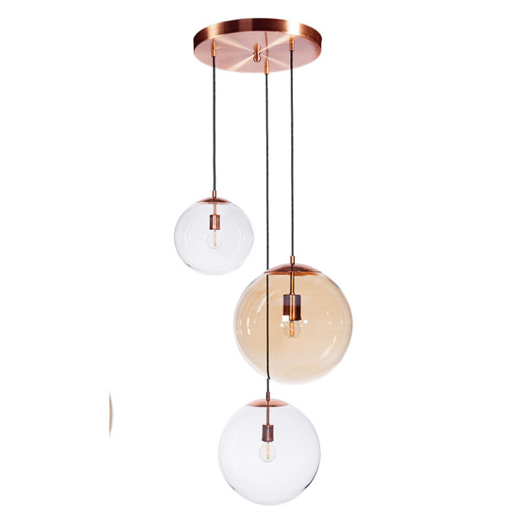 cluster ceiling 3 lights MUNA in copper with glass shades