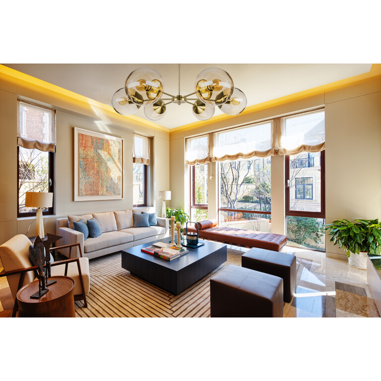 living room ideas with hand blown glass light pendants MUNA for low ceiling in gold