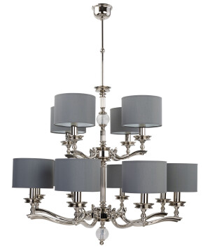 large traditional chandelier TIVOLI 12 light two tier in brushed nickel with shades