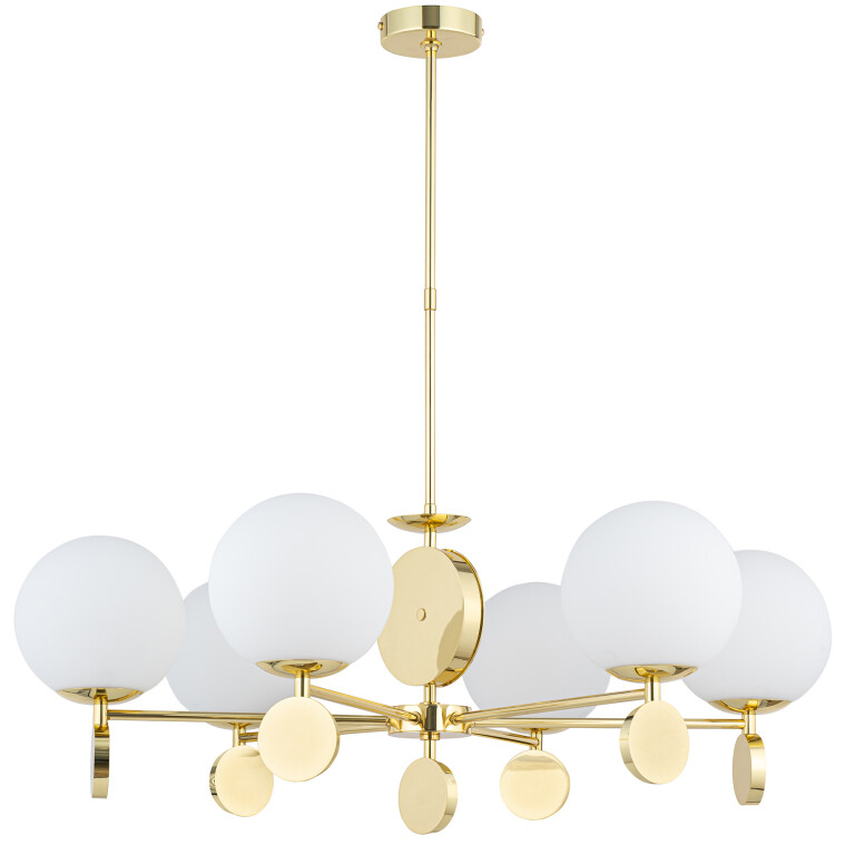 Bespoke Lighting DIMARO 6 light chandelier in gold with globe glass shades
