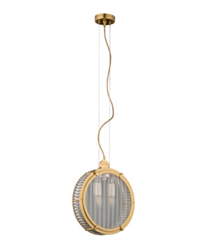 BRASS LIGHTING single pendant 2 lights LAURIA in gold with glass