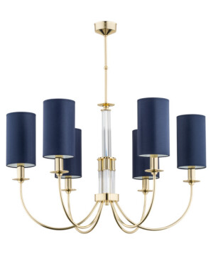 gold chandelier SAPPHIRE 6 light with glass elements and blue lamp shade