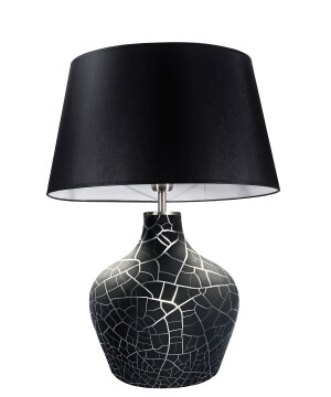 Contemporary lighting MADE glass table lamp with black pattern and shade