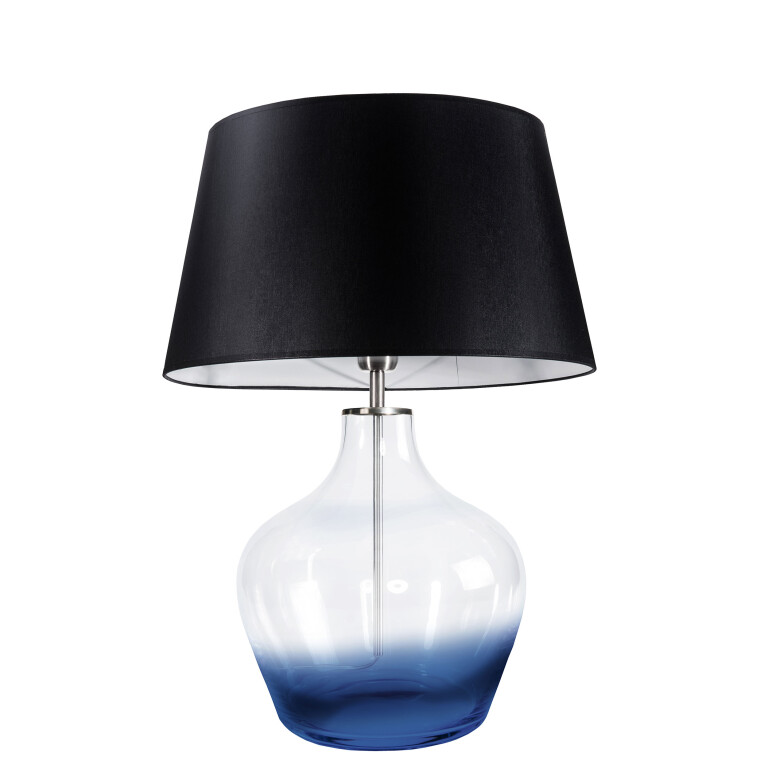 Contemporary lighting MADE blue glass table lamp with black shade
