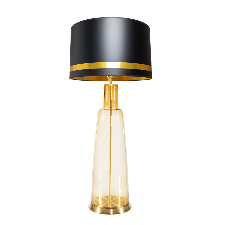 Contemporary lighting KING amber glass table lamp with black shade
