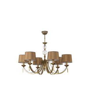 Bespoke lighting ZAFFIRO 6 light brass chandelier