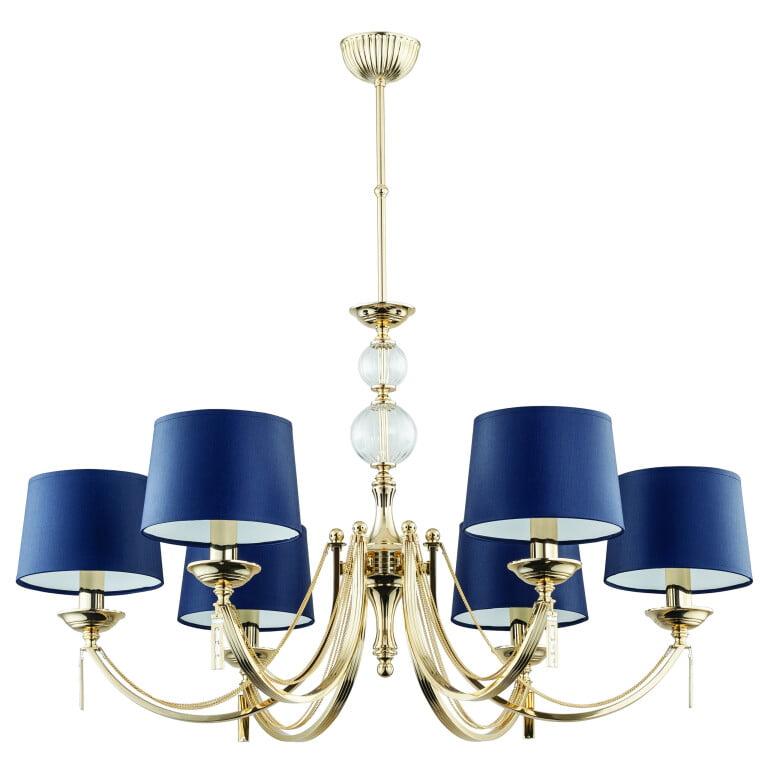 Bespoke lighting ZAFFIRO 6 light gold chandelier blue shades
