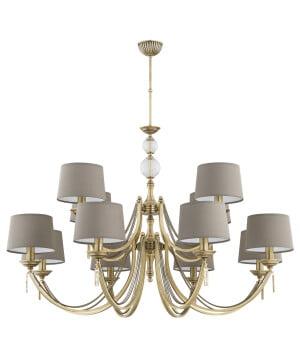 Bespoke lighting ZAFFIRO 2 tiered brass large chandelier 12 light