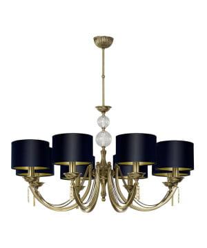 Bespoke lighting ZAFFIRO 8 light antique brass chandelier black shades