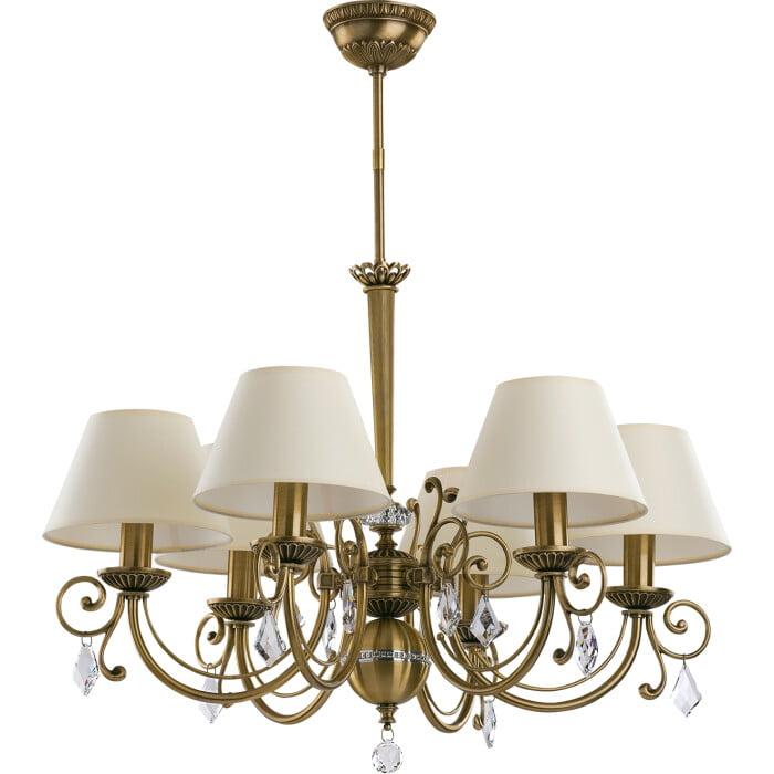 Bespoke lighting COCO 6 light brass chandeliers with Swarovski Crystals