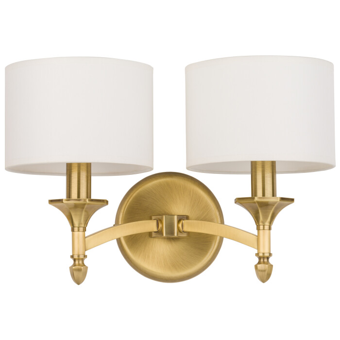 Brass lighting DECOR 2 light wall in brushed brass with shades