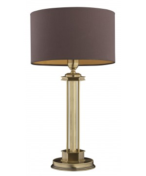 Brass lighting DECOR table lamp in brushed brass with brown shade
