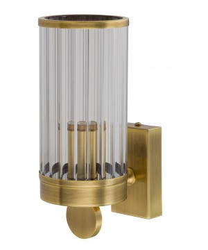 Bespoke lighting LAURIA ribbed glass wall light in brushed brass