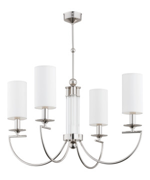 Bespoke lighting LEA 4 lights chandelier in nickel with white shades