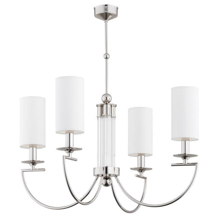 Bespoke lighting LEA 4 lights chandelier in nickel with white shades